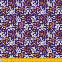 Tecido Tricoline Estampado Mini Floral Branco Laranja e Folhagem Fundo Azul 2016v11
