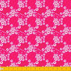 Tecido Tricoline Estampado Mini Floral e Folhagem Fundo Pink 2016v09