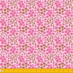 Tecido Tricoline Estampado Mini Floral e Folhagem Fundo Rosa 2016v02