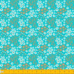 Tecido Tricoline Estampado Mini Floral e Folhagem Fundo Tifanny 2016v01