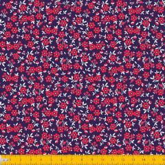 Tecido Tricoline Estampado Mini Floral Fundo Marinho 2010v11