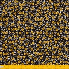 Tecido Tricoline Estampado Mini Floral Fundo Preto 2010v12