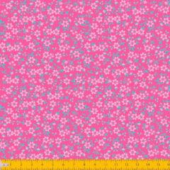 Tecido Tricoline Estampado Mini Floral Fundo Rosa 2010v09