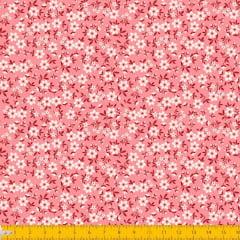 Tecido Tricoline Estampado Mini Floral Fundo Rose 2010v05