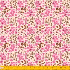 Tecido Tricoline Estampado Mini Floral Rosa e Folhagem Fundo Amarelo Claro 2016v08