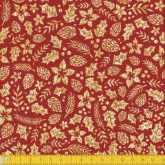 Tecido Tricoline Estampado Natal Folhas Douradas Vermelho 1277v58