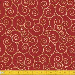 Tecido Tricoline Estampado Natal Geométrico Vermelho 1166v58