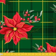 Tecido Tricoline Estampado Natal Xadrez Floral Verde 8053v02