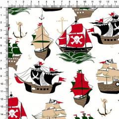 Tecido Tricoline Estampado Navios Piratas Branco 6473v05