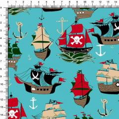 Tecido Tricoline Estampado Navios Piratas Tifanny 6473v03