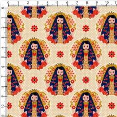 Tecido Tricoline Estampado Nossa Senhora Poá Bege 6448v03
