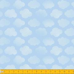 Tecido Tricoline Estampado Nuvens Pontilhadas Azul Claro 1196v82
