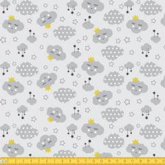 Tecido Tricoline Estampado Nuvens Tons de Cinza 4023v03