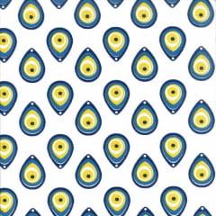 Tecido Tricoline Estampado Olho Grego Amarelo Fundo Branco 81053v03