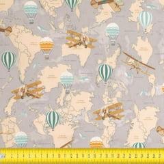 Tecido Tricoline Estampado Mapa Mundi 23136
