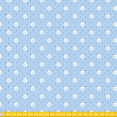 Tecido Tricoline Estampado Patinhas Circular Fundo Azul 2014v03