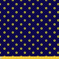 Tecido Tricoline Estampado Patinhas Circular Fundo Marinho 2014v05