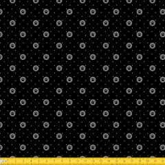 Tecido Tricoline Estampado Patinhas Circular Fundo Preto 2014v01