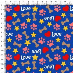 Tecido Tricoline Estampado Patinhas Love Fundo Azul Royal 5367v06