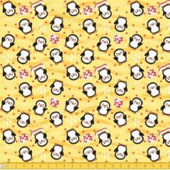 Tecido Tricoline Estampado Pinguim Amarelo 5049v01