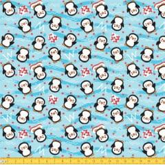 Tecido Tricoline Estampado Pinguim Azul 5049v02