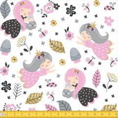 Tecido Tricoline Estampado Princesas Tepee Kids  4091v01