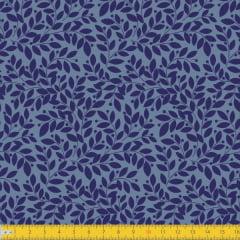 Tecido Tricoline Estampado Ramos Azul Must Have 1265v02