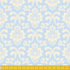 Tecido Tricoline Estampado Realeza Azul Bebê Must Have 1254v10