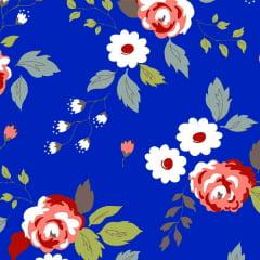 Tecido Tricoline Estampado Rosas Fundo Azul Royal 6356v08