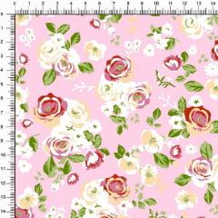 Tecido Tricoline Estampado Roseiras Fundo Rosa 6474v4