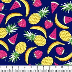 Tecido Tricoline Estampado Salada de Frutas Fundo Marinho 6359v04
