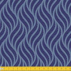 Tecido Tricoline Estampado Tramas Azul 1258v02