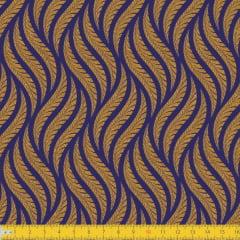 Tecido Tricoline Estampado Tramas Marinho Brilhante 1258v08