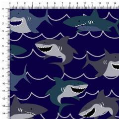 Tecido Tricoline Estampado Tubarões Fundo Marinho 6440v04