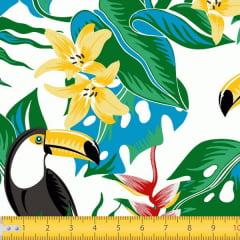 Tecido Tricoline Estampado Tucanos Floral Fundo Branco 7119v01