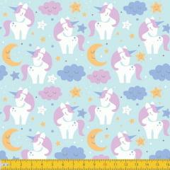 Tecido Tricoline Estampado Unicornios no Céu Fundo Azul Bebê 5030v02