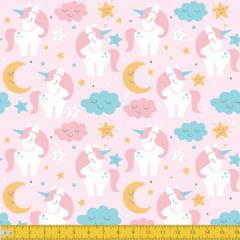 Tecido Tricoline Estampado Unicornios no Céu Fundo Rosa 5030v01