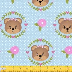 Tecido Tricoline Estampado Urso Floral  7118v02