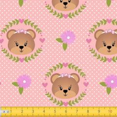 Tecido Tricoline Estampado Urso Floral 7118v01