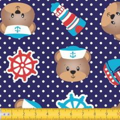 Tecido Tricoline Estampado Urso Marinheiro Fundo Marinho 6047v1