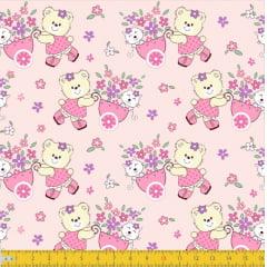 Tecido Tricoline Estampado Ursos e Gatos 7095v01