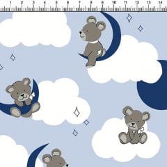 Tecido Tricoline Estampado Ursos Nas Nuvens Fundo Azul Bebe 5358-2
