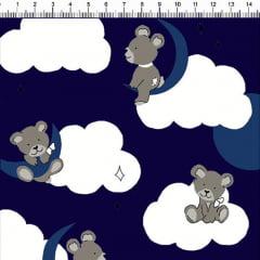 Tecido Tricoline Estampado Ursos Nas Nuvens Fundo Azul Marinho 5358-4