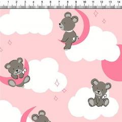 Tecido Tricoline Estampado Ursos Nas Nuvens Fundo Rosa Claro 5358-1