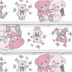 Tecido Tricoline Estampado Ursos Rosa 3096