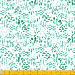 Tecido Tricoline Estampado Folhagem Verde 2013v07