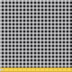 Tecido Tricoline Estampado Xadrez Pequeno Preto 1552v01