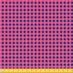 Tecido Tricoline Estampado Xadrez Pequeno Rosa e Azul 1552v07