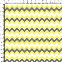 Tecido Tricoline Estampado Chevron Amarelo Cinza Branco 3298v15