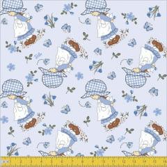 Tecido Tricoline Menina Belle Fundo Azul Claro 7069v02